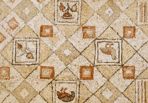 Late Roman, Large Geometric Mosaic Panel With Birds And Flowers, Circa 4th Century AD. by Christie's Images