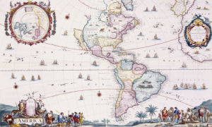 Map Of The Americas Circa 1696 by Cornelis Danckerts