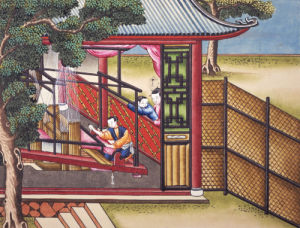 Weaving Silk On A Loom. From 'The Process Of Manufacturing Silk In 24 Stages' by Christie's Images