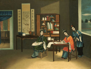 An Interior With A Woman Painting Flowers by Christie's Images