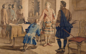 A Tapestry Cartoon Depicting Fergus McIvor Introducing Waverley To The Princ by H. Verbeocken