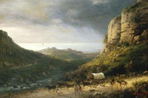 A Wagon On A Path In A Rocky River Landscape by Domenico Ferri