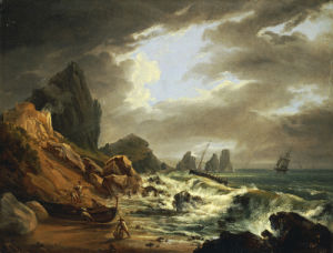 A Rocky Coastal Landscape With Figures On A Beach . by Italian School