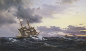 Sailing Vessels In A Stormy Sea, 1879 by Wilhelm Melbye