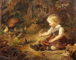 Feeding The Chickens by Hans Adolf Hornemann