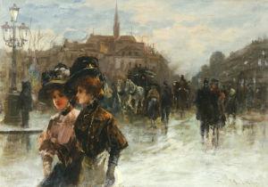 A Street Scene With Elegant Ladies, Paris by Max Lugi