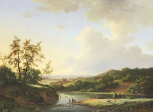 An Extensive Landscape With Figures And Cattle By A River, A Town Beyond, 1845 by Marinus Adrianus Koekkoek