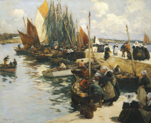 Unloading The Catch by Fernand Marie Eugene Legout-Gerard