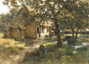 Chaumiere, Normande, 1900 by Leon Augustin L'Hermitte