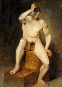 A Seated Male Nude by Hans Von Staschiripka Canon