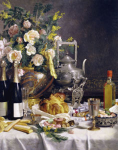 Bottles Of Champagne Bread Biscuits And Cakes On A Draped Table, 1889 by Christie's Images