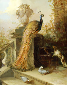 A Peacock On A Terrace With A Dog And Pigeons by Johann-Rudolf Koller