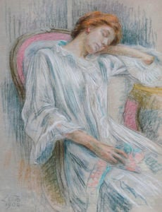 A Young Woman Asleep In A Chair by Marie-Louise Catherine Breslau