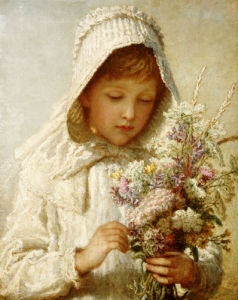 The Month Of September; A Young Girl In White by Carl Wilhelm Friedrich Bauerle