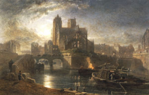 Notre Dame, Paris, From The Left Bank By Moonlight, 1864 by Edward Angelo Goodall