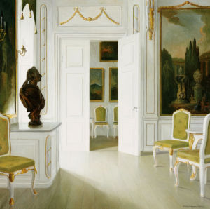 An Interior Of A Salon - Fredensborg, 1921 by Christian Tilemann-Petersen