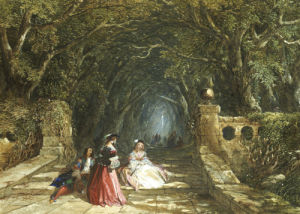 Elegant Figures On A Wooded Path, 1857 by John Edmund Buckley