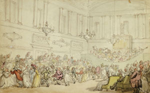 The Comforts Of Bath- The Ball by Thomas Rowlandson