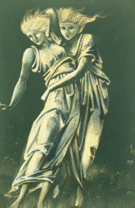 Study Of Dancing Figures Embracing: A Design For Metal by Sir Edward Burne-Jones