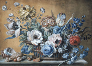 A Basket Of Carnations, Iris, Peonies, Roses by Peter Mazell