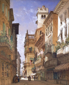Verona: Corso Sant' Anastasia And The Palazzo Maffei, 1855 by William Callow