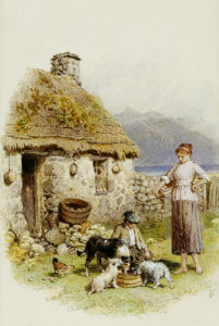 A Highland Cottage by Myles Birket Foster