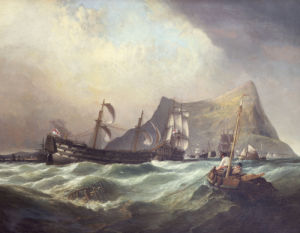 Neptune, Towing The Victory Into Gibraltar Harbour After The Battle Of Trafalgar by William Clarkson Stanfield