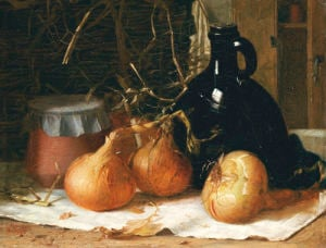 Onions, A Jug And A Ceramic Pot On A Tablecloth, 1896 by Harry Brooker