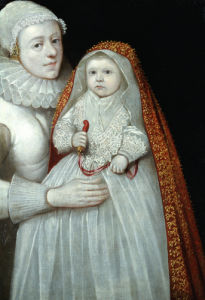 A Christening Portrait Of A Mother And Child, Circa 1595 by English School