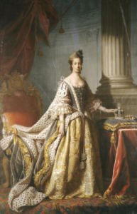Portrait Of Queen Charlotte (1744-1818), Wife Of King George III, Full Length In Robes Of State by Allan Ramsay