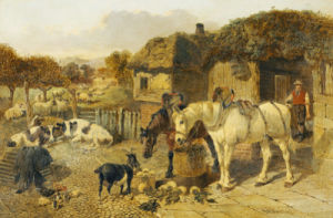 A Farmyard Scene With Plough Horses, Ducks, Cows, Etc by John Frederick Herring