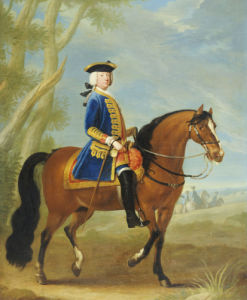 Portrait Of A Mounted Officer, Horsemen Beyond In A Landscape by Christie's Images