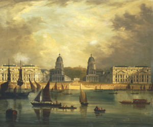 A View Of Greenwich, From The River, With Commissioned Barges by Frederick Calvert