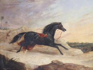 Arabs Chasing A Loose Arab Horse In An Eastern Landscape by John Frederick Herring