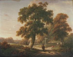 Travellers At A Crossroads In A Wooded Landscape by Charles Towne