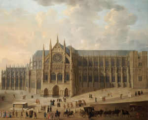 View Of Westminster Abbey With Figures In The Foreground, C. 1725 by English School