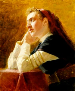 Portrait Of A Young Woman by Ilya Efimovich Repin