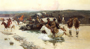 Tcherkess Convoy Crossing A River by Franz Alekseevitch Roubaud