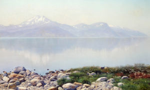 A Lake Landscape With Mountains Beyond. (1858-1911), 1898 by Konstantin Iakovlevich Kryzhitskii
