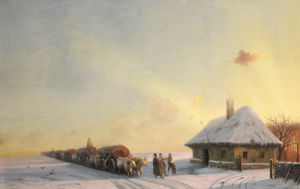 Ukranian Oxcart Drivers In Winter, 1858 by Ivan Konstantinovich Aivazovsky