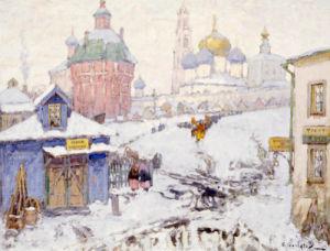 Townscape In Winter by Konstantin Ivanovich Gorbatov
