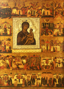Icon Of The Mother Of God Tikhvinskaia Also Depicting The History And Miraculous Events by Christie's Images