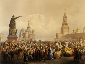 Red Square With St. Basil's Cathedral, Moscow, 1856 by Christie's Images