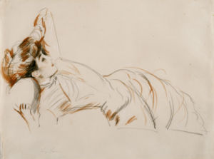 An Elegant Lady Reclining by Paul-Cesar Helleu