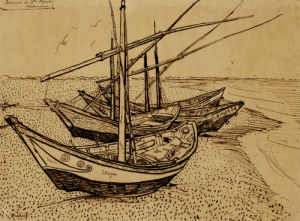 Boats On The Beach At Saintes-Maries-De-La-Mer, 1888 by Vincent Van Gogh