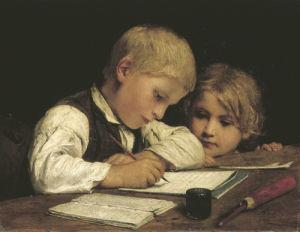 A Boy Writing, 1875 by Albert Anker
