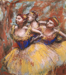Three Dancers (Yellow Skirts, Blue Blouses), Circa 1896 by Edgar Degas