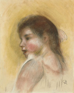 Head Of A Young Girl In Profile by Pierre Auguste Renoir