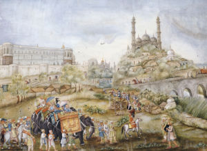 A Hunting Procession With Indians And Europeans Mounted On Elephants. Lucknow School, Circa 1820 by Christie's Images