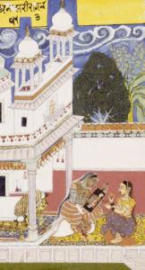 Dhanasri Ragini. Portrait Of Her Beloved. Bundi C.1670 by Christie's Images